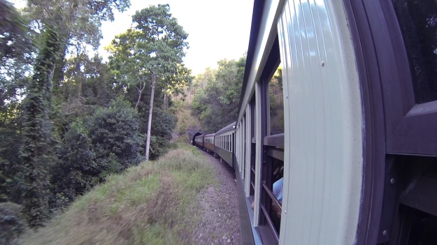 Entering One Of The Many Hand Excavated Tunnels On The Kuranda Scenic Railway